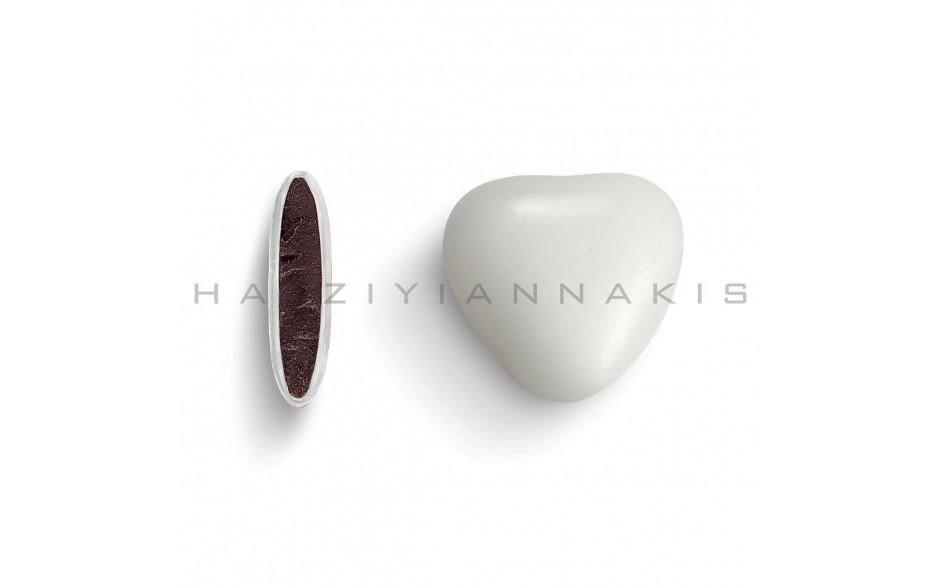 Κουφέτα πραλίνα σοκολάτα Χατζηγιαννάκη σε σχήμα καρδιάς, μεσαία, χρώμα λευκό ματ